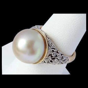 Marcus & Co South Sea Pearl Diamond Ring ca. 1950 18K Platinum