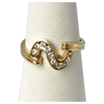 14K Gold Diamond Curve Ring