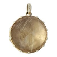 14K Gold Rutilated Quartz Locket