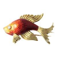 Cartier 18k Gold Diamond Enamel Fish Brooch