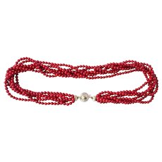 Natural Red Coral No Dye Diamond 14K Gold Necklace