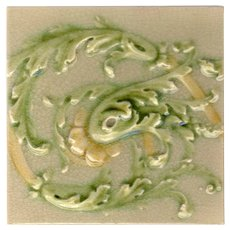 Victorian Era - Scrolling Acanthus Majolica Tiles - Interconnecting - Poly-Chrome - Circa 1890 - 25 Tiles Available