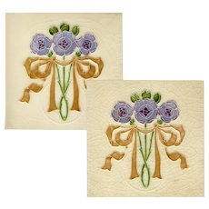 Gibbons & Hinton - Circa 1905 - Violet Roses In Ribbon - Art Nouveau - Two Antique Majolica Tiles