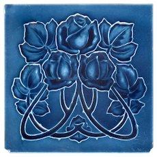J. H. Barratt & Co. - c.1908 - Blue Roses - Antique Art Nouveau Majolica Tile
