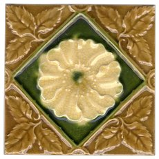 Corn Brothers - c1887 - Yellow Flower On Emerald Green With Olive Green Leaf Accents - Antique Victorian Majolica Tile