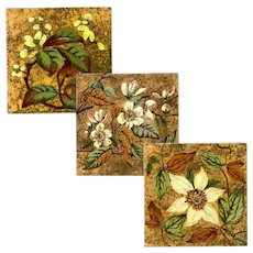 Sherwin & Cotton - Circa 1886 -  Three Arts & Crafts - Hand Made - Victorian Barbotine - Antique Tiles