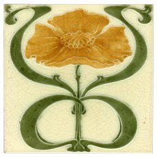 George Marsden c1905 - Amber & Green Floral on Cream - Antique Art Nouveau Tile