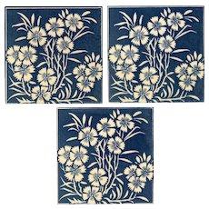 "Maw & Co - Circa 1882 - Dark Blue Floral Print - Arts & Crafts  - ""Floreat Salopia"" - Three (3) Antique Victorian Tiles"