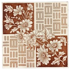 """Henry A. Ollivant - Circa 1895 - """"Floral & Pattern"""" - Brown Transfer Print - Aesthetic Movement -  Antique Tiles"""