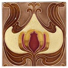 T & R Boote - c1902 Ruby & Amber Floral - Antique Art Nouveau Majolica Tile