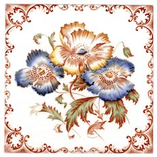Alfred Meakin, Ltd. - c.1905 - Amber & Blue Flowers - Art Nouveau Era - Polychrome - Transfer Printed Tile