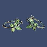 Peridot Sterling Butterfly Pierced Earrings - August Birthstone