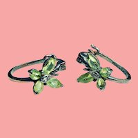 Vintage Real Peridot Butterfly Pierced Earrings, August Birthstone, Sterling and Peridot