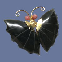 Jade and Coral Butterfly Pendant-Brooch