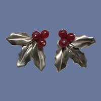 Signed Judie Gumm Sterling Red Carnelian Earrings