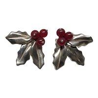 Signed Judie Gumm Sterling Red Carnelian Earrings