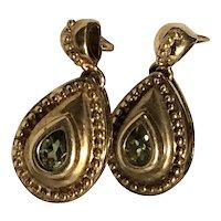 ESTATE: Vintage 9K Gold and Peridot Dangle Earrings - AUGUST Birthstone