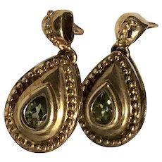 ESTATE: Vintage 9K Gold and Peridot Dangle Earrings