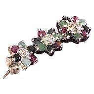 Ruby, Diamond, Sapphire, Emerald Earrings