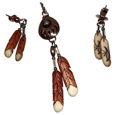 VIntage Native American Sterling Feather Necklace and Earrings