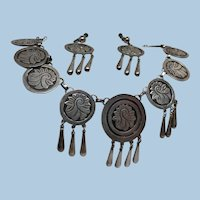 Dramatic Mexican Deco Silver Overlay Necklace and Earrings