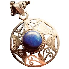 Vintage Lapis and Sterling Silver Poison Pendant and Ornate Chain