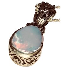 Vintage Opal and Sterling Pendant and Chain