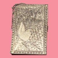 Victorian Coin Silver Engraved Bird Calling Card Case