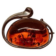 Handcrafted Silver and Amber Brooch