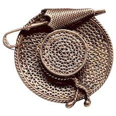 Vintage 900 Silver Hat with Umbrella Brooch