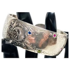 Sterling Cuff with Semi-precious Stones and Cartouche
