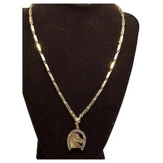 ESTATE: Early 1900s Pocket Watch Chain and Fancy Horse  Head in Horseshoe Fob - Gift for the Bride