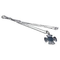 Vintage UK Celtic Symbol Silver Pocket Watch Fob Pendant & Chain
