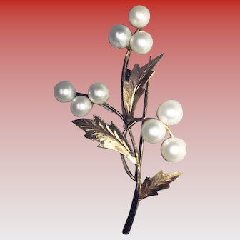 Vintage 14K Gold Cultured Pearl Tree Branch Brooch/Pin