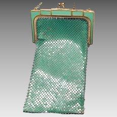 1920s Whiting & Davis Art Deco Green Enamel Mesh Evening Purse