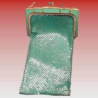 1920s Whiting & Davis Art Deco Green Enamel Mesh Evening Purse