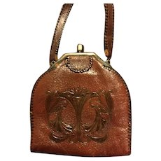 ANTIQUE PURSE: 1910s Hand Tooled Handbag