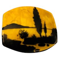 Art Deco Hand Painted Celluloid Italian Landscape Pin-Brooch