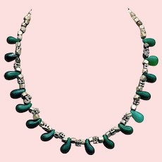 Vintage Natural Green Quartz Silver Necklace