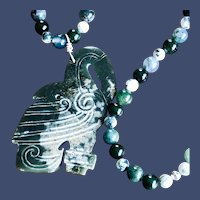 Jade Crane with Jade and Agate Beads Necklace with Jadeite Pendant by NikrosDesigns