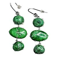 Green Jasper and Sterling Silver Earrings