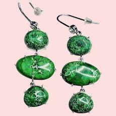 Green Jasper and Sterling Silver Earrings