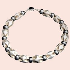 Vintage Spectacular Hematite and Sterling Necklace