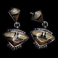 Picture Jasper Opal and Sterling Silver Earrings