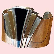 Heavy Vintage Designer Onyx Sterling Silver Fanned Cuff Bracelet by Alfred Durante