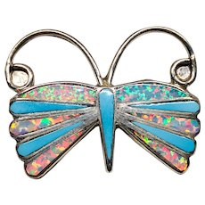 Vintage ZUNI Turquoise Opal Inlay Butterfly Necklace with Sterling Chain