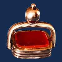 Victorian Carnelian Rose Gold-filled Spinner Fob