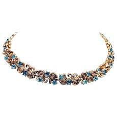 Crown Trifari Aqua Blue Rhinestone Necklace