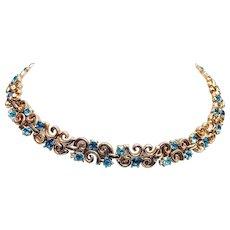 Crown Trifari Aqua Blue Rhinestone Necklace