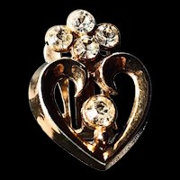 Trifari Rhinestone Heart Clip On Earrings  - 1949